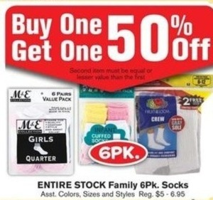 Entire Stock of 6Pk Socks