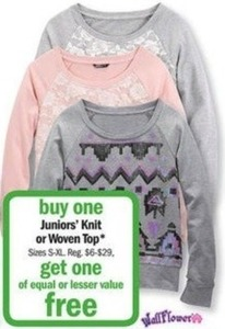 Juniors' Knit or Woven Tops