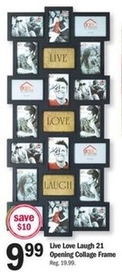 Live Love Laugh 21 Opening Collage Frame