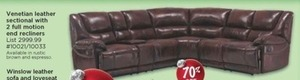 Venetian Leather Sectional w/ 2 Full Motion End Recliners