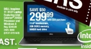 "Dell Inspiron 11 11.6"" Intel Celeron Laptop w/ 2GB RAM & 500GB HDD with $50 Purchase"