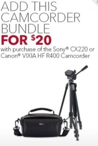 Camcorder Bundle w/ Purchase of Sony CX220 or Canon Vixia Camcorder