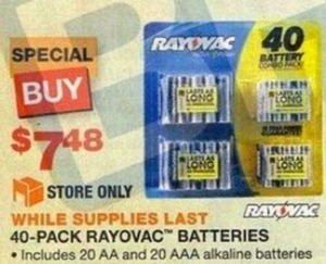 40-Pack Rayovac Batteries