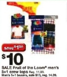 Fruit of the Loom Men's 5+1 Crew Tops & Boxers
