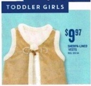 Toddler Girls Sherpa Lined Vests