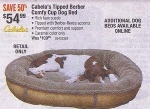 Cabela's Tipped Berber Comfy Cup Dog Bed