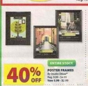 Entire Stock of Studio Decor Poster Frames