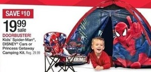 Kids' Spider-Man, Disney Cars, or Princess Getaway Camping Kit