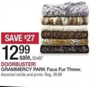 Grammercy Park Faux Fur Throw