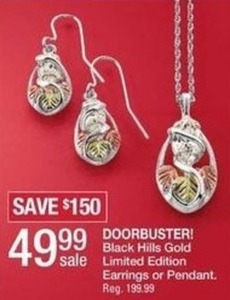Black Hills Gold Limited Edition Earrings or Pendant
