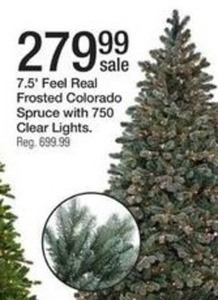 7.5' Feel Real Frosted Colorado Spruce w/ 750 Clear Lights