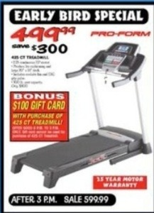 Pro-Form 425 CT Treadmill + $100 Gift Card