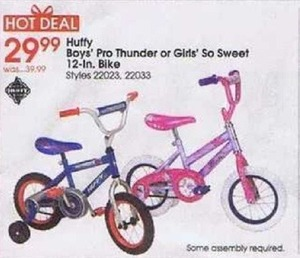 Huffy Boys' Pro Thunder or Girls' So Sweet 12-in. Bike
