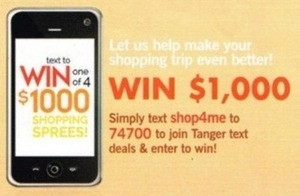 Win $1,000 with Tanger Text Deals