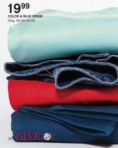 Juniors' Color & Blue Denim