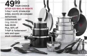 T-Fal 14-Piece Ceramic Initiatives Cookware Set (After Rebate)