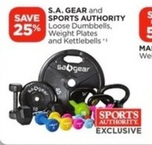S.A. Gear and Sports Authority Loose Dumbells, Weight Plates and Kettlebells