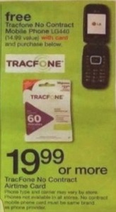Free Tracfone No Contract Mobile Phone w/ Purchase of TracFone No Contract Airtime Card