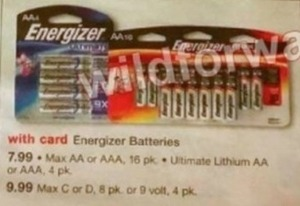 Energizer Max AA or AAA 16-Pack or Ultimate Lithium AA or AAA 4-Pack