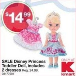 Disney Princess Toddler Doll + 2 Dresses