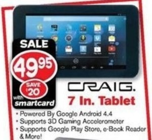 Craig 7 in. Tablet w/ Smartcard