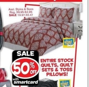 All Quilts, Quilt Sets, and Toss Pillows w/ Smartcard