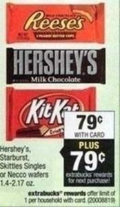 Hershey's, Starburst, Skittles Singles or Necco Wafers 1.4-2.17 oz + $0.79 Reward
