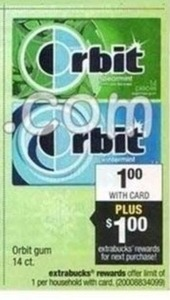 Orbit Gum 14ct + $1 Extrabucks