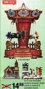 Airplane Carousel, Winter, Scene or Musical Animated Church