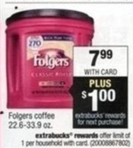 Folgers Coffee 22.6 - 33.9 + $1 Extrabucks