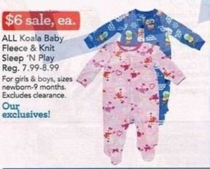All Koala Baby Fleece & Knit Sleep 'n Play