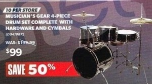 Musician's Gear 4PC Drum Set w/ Hardware & Cymbals