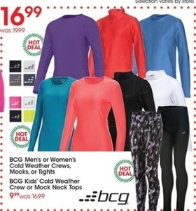 BCG Men's or Women's Cold Weather Crews, Mocks, or Tights
