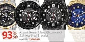 August Steiner Men's Chronograph Stainless Steel Bracelet (Starts 11/28)