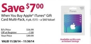 Apple iTunes Gift Card 4-Pack