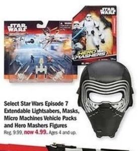 Select Star Wars Episode 7 Extendable Lightsabers, Masks, etc