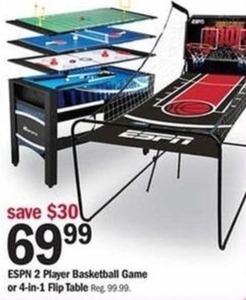 ESPN 2 Player Basketball Game or 4-in-1 Flip Table