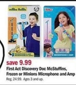 First Act Discovery Doc McStuffins, Frozen or Minions Microphone