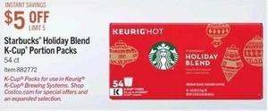 Starbucks Holiday Blend K-cups Portion Packs