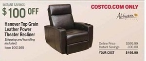 Hanover Top Grain Leather Power Theater Recliner