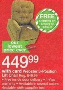 Webster 3-Position Lift Chair w/ Card