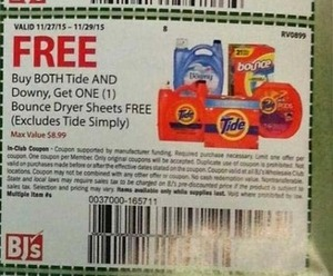 Bounce Dryer Sheets with Purchase of Tide and Downy