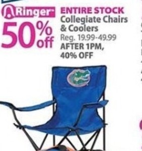 Entire Stock Collegiate Chairs & Coolers