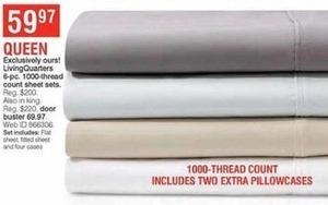 LivingQuarters 6-pc 1000-TC Queen Sheet Sets
