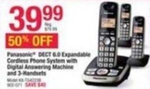 Panasonic DECT 6.0 Expandable Cordless Phone System w/ 3 Handsets