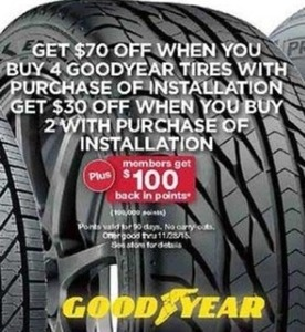 Buy 4 Goodyear Tires + Installation + $100 Back in Points