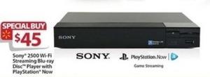 Sony 2500 Wi-Fi Streaming Blu-ray Disc Player w/ PlayStation Now