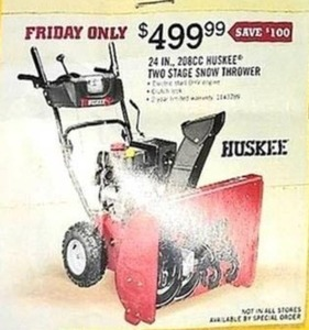 "Huskee 24"" Two Stage Snow Thrower"