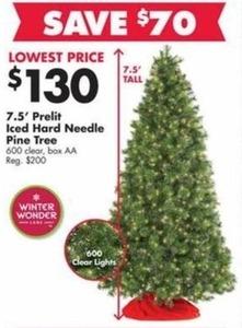 7.5' Prelit Iced Hard Needle Pine Tree