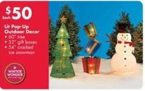 Lit Pop-Up Outdoor Decor Tree, Gift Boxes or Cracked Ice Snowman